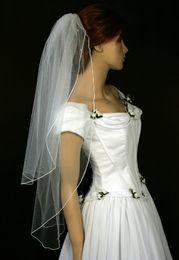 Hot Elegant Top Qualityr Cheap Best Sale Wrist Length White Ivory Ribbon Edge Veil Bridal Head Pieces For Wedding Dresses