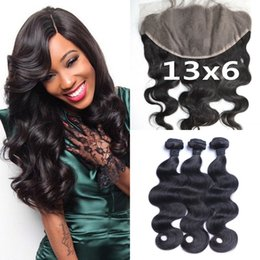 Malaysian Body Wave Lace Frontal Closure 13x6 With Hair Weave Bundles Natural Black Human Hair Closure LaurieJ Hair
