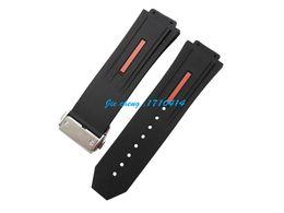 Acheter en ligne Regarder bracelet en caoutchouc noir-28 mm x 19mm nouvel acier inoxydable de haute qualité Argent boucle de plongée bracelet noir bracelet en caoutchouc de silicone Pour HUBLOTWATCH