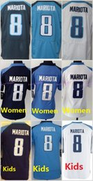 Wholesale 8 Marcus Mariota Light Navy Blue White Football Jerseys Home Away Elite Men Women Youth Kids Stitched Free Drop Shipping