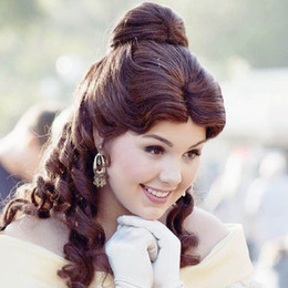 Wholesale Adult Belle Wig Beauty and The Beast Cosplay Brown Wig Princess Belle Party Halloween Women