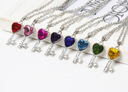 Wholesale Chain Necklaces Images - Hot Selling Fashionable And Classic Austrian Crystal Key Image Women Necklace With Pedants 8 Colors NL-0670