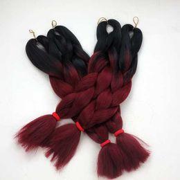Descuento resistente para el cabello de calor Ombre Dip Dye Dos Tonos Coloreados Jumbo Trenzado Cabello Sintético Resistente al Calor Jumbo Braid Negro / Borgoña color