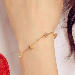 Wholesale 2016 New Fashion Star Peach Heart Temperament Bracelet Five Love Bracelet Han Edition Pure Fresh Fair Maiden Star Women Bracelet