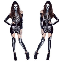 Cosplay Cool Living Dead Skeleton Costume off shoulder Black Skeleton Dress Ghost Costume Stage Uniform Halloween Costumes for Women
