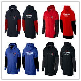 Wholesale cheap sports Houston cheap Texans thick hoodies American football hoodies black red royal blue men cheap Sweatshirts size M XL