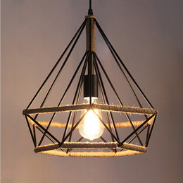 Loft Vintage hemp rope Pendant light Retro Diamond Birdcage pendant lighting fixtures For Restaurant bar Decoration industrial lighting