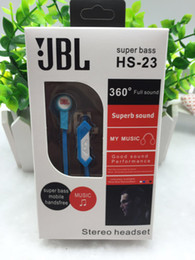 Wholesale JBL HS Universal mm In ear Headphones Earphones Super Bass Headsets for iPhone Samsung Galaxy Smart Phone Fashion Headphone Retail Box