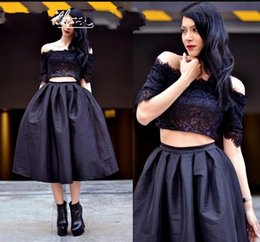 Two pieces Black Homecoming Dresses Sexy Off Shoulder Tea length taffeta Lace Formal Party Cocktail Dress Little Black Dresses Party Gowns