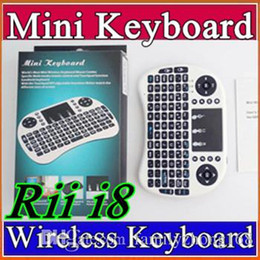 Wholesale 25X Wireless Keyboard rii i8 keyboards Fly Air Mouse Multi Media Remote Control Touchpad Handheld for TV BOX Android Mini PC B FS