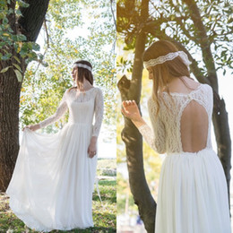 Vintage Wedding Dresses Lace Sleeves Cheap Beach Wedding Dress Country Style Boho Bohemian Chiffon Skirt Bridal Gowns with Open Back