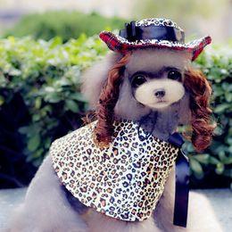 Головные уборы для собак для продажи-Совершенно новый Pet моды серии PF13-16 собаки кошки одежда Плащ подходит весной и летом Hat + парик + плащ 4 цвета черный, красный, синий, Золотой