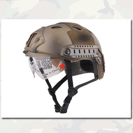 Wholesale FAST Helmet with Protective Goggle Emerson Airsoft Paintball Helmet PJ Type ABS Seals Custom Version