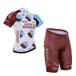 Wholesale Brown Color Men Bike Wear Tour De France Ag2r Cycling Jersey Bib None Bib shorts Quick dry Breathable Focus Bicycle Clothes Size XS XL