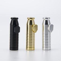 Acabado mate en Línea-DHL bala de tabaco de 2,3 pulgadas con acabado mate contiene 3 g Snuff Bullet Pipe Aluminio Metal Snuff Snorter regalo colorido portátil 142