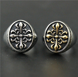 Size 7-14 Mens Womens 316L Stainless Steel Jewelry Silver Golden Punk Gothic Ring Cross Flower Good Quality Special New Biker Ring