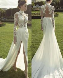 Wholesale Haute Couture Chiffon Lace Wedding Dresses Long Sleeve High Neck Illusion Back Applique Court Train Deep Split Front Garden Bridal Gown