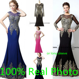 Real Photo Long or Short Sleeve Mermaid Prom Party Occasion Dresses 2019 Gold Embroidery in Stock Cheap Trumpet Arabic Dress Evening Wear