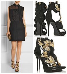 Gorgeous Lady Sandal Black Rhinestone Gold Leaf Filigree Open Toe Cut-Outs Stiletto Back Zipper High Heel Sandals Woman