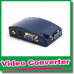 Wholesale VGA to AV RCA Converter Adapter Switch Box For PC Laptop TV Monitor S video Signal Supports NTSC PAL System DHL Free OM CG8