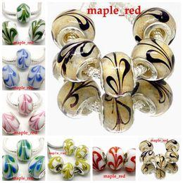 Wholesale 50pcs Mixed color Beautiful Plume Design Lampwork Glass Beads Silver Plated Fit European Charm Bracelet