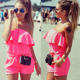 2016 Women Rompers and Jumpsuit Sexy Strapless Fashion Solid Candy Color Summer Shorts Beach Romper Cute feminino vestidos female Overalls