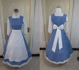 Wholesale Custom made Beauty and the Beast Belle Maid Dress Costumes Blue color New Party Halloween Cosplay Costume for Women