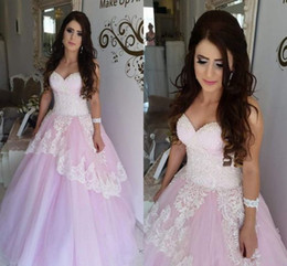 Custom Made White Lace Applique Sweetheart Ball Gown Prom Dresses Quinceanera Dress Floor Length Long Formal Evening Gowns No Sleeve Cheap