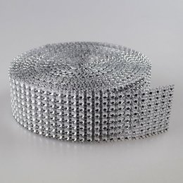"1.55""X30 Feets silver Diamond sparkle Rhinestone Wraps Ribbon Wedding home decor free shipping"