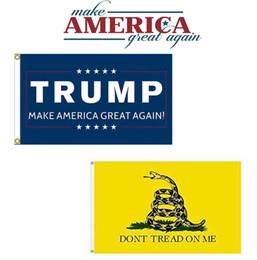 Wholesale x5ft Blue Trump Make America Great Again Gadsden Dont Tread On Me Black Flag Set x5