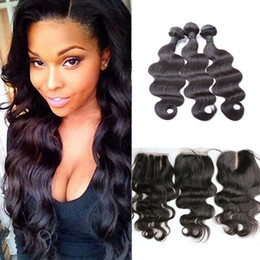 Wholesale Cheap Hair Lace Closure Piece - 3 Pcs Brazilian Virgin Hair With Closure Body Wave Cheap Human Hair Bundles With Lace Closure Free Middle Three Parting