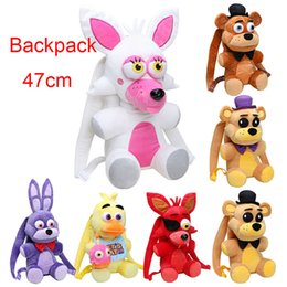 Wholesale Backpack CM Five Nights At Freddy s plush toy FNAF Freddy Fazbear Bonnie Mangle foxy chica plush backpack kids bag