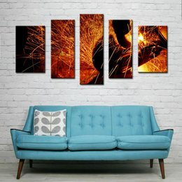 Wholesale 5 Picture Combination Wall Art Sparks Flew During Welding Car Bottom On Canvas Abstract The Picture For Home Modern Decor