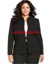 Cusotm Made Suit Women Suits Plus Size Black Women Suit Plus Size Mandarin Collar Jacket & Plus Size Flat Front Pants HS7938