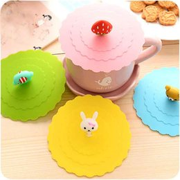 Wholesale-Creative Dustproof Leakproof Cup Lid Insulation Cover Thermal Insulation Candy Colors Reusable Silicone Cup Cover Seal Cover D0