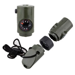 2015 New! 7 in 1 Camping Survival Whistle Kit with Compass Thermometer Flashlight Magnifier,High Quality