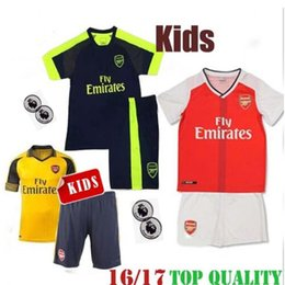 Wholesale A quality16 Arsenal home and away jersey Kids Jerseys WILSHERE OZIL WALCOTT RAMSEY ALEXIS GIROUD Soccer Jersey