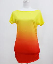 2016 summer women t shirt vestidos rainbow gradual change print tops casual female
