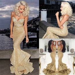 2019 Gold Sequined Mermaid Prom Dresses Backless Front Split Ruffles Sweep Train Long Girls Evening Party Pageant Party Gowns Arabic