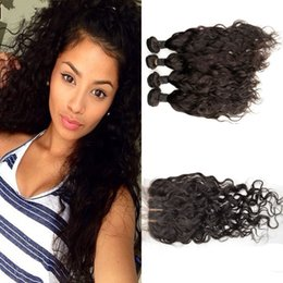 Indian virgin hair with closure natural black 4 pieces water wave human hair bundles with 1 piece wet and wavy silk base closure G-EASY