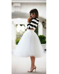 Cheap Summer Tulle Tutu Skirt Short Knee Length Adult Skirts For Women White Ruched Midi Skirt