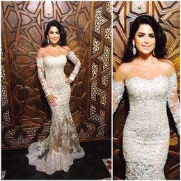 Wholesale Elegant Evening Dresses Long Sleeve White Evening Gowns Mermaid Appliques With Beads Vestido Largo Turkey Abendkleider