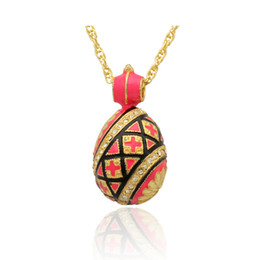 Wholesale Free Shipping Handmade red Enamel crystal flower Faberge Egg Russian Egg Pendant Necklace Chain Included