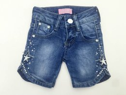 Wholesale Hot Selling Summer Short Girls jeans Embroidery Jewelry Inlaid Elastic Meterid Fashion New Design Factory Supply
