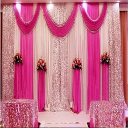 Wholesale 3m m m m m m Wedding Backdrop Swag Party Curtain Celebration Stage Performance Background Drape Silver Sequins Wedding Favors Suppliers