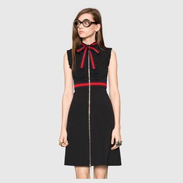 Wholesale HIGH QUALITY Newest Fashion Summer Runway Dress Catwalk Women Sleeveless Elegant Bow Front Zipper Casual Dress Academic Style