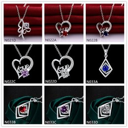Best gift fashion women's gemstone 925 silver Necklace Pendant 10 pieces a lot mixed style,cheap sterling silver Pendant Necklaces EMN20