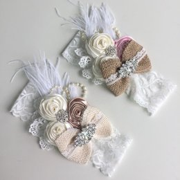Wholesale Burlaps Bow Baby Headband Matching Lace Sparking Pearl Rhinestone Satin Rosette and Feather Arc Bandeau Newborn Hairband QueenBaby