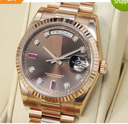 Wholesale Luxury WATCH Fashion Watch Chocolate Diamond Ruby Dial Everose Gold CHODRP MAN Wristwatch