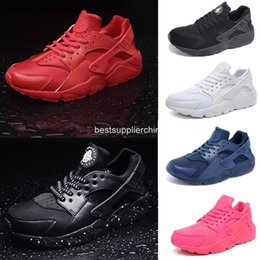 Wholesale 2016 Air Huarache Classic Men And Women Running Shoes Black Red White Navy Blue Pink Huaraches Breathable Huraches Sneakers Size